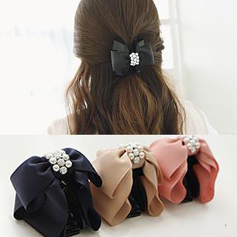 Hera 赫拉 水鑽珍珠雙層蝴蝶結髮飾抓夾/髮夾-3色