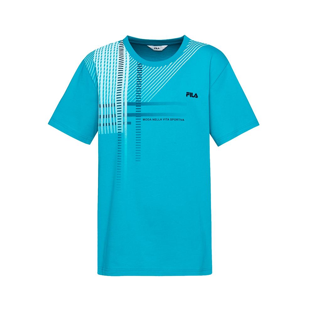 FILA 男款短袖圓領T恤-藍綠 1TET-1513-TQ