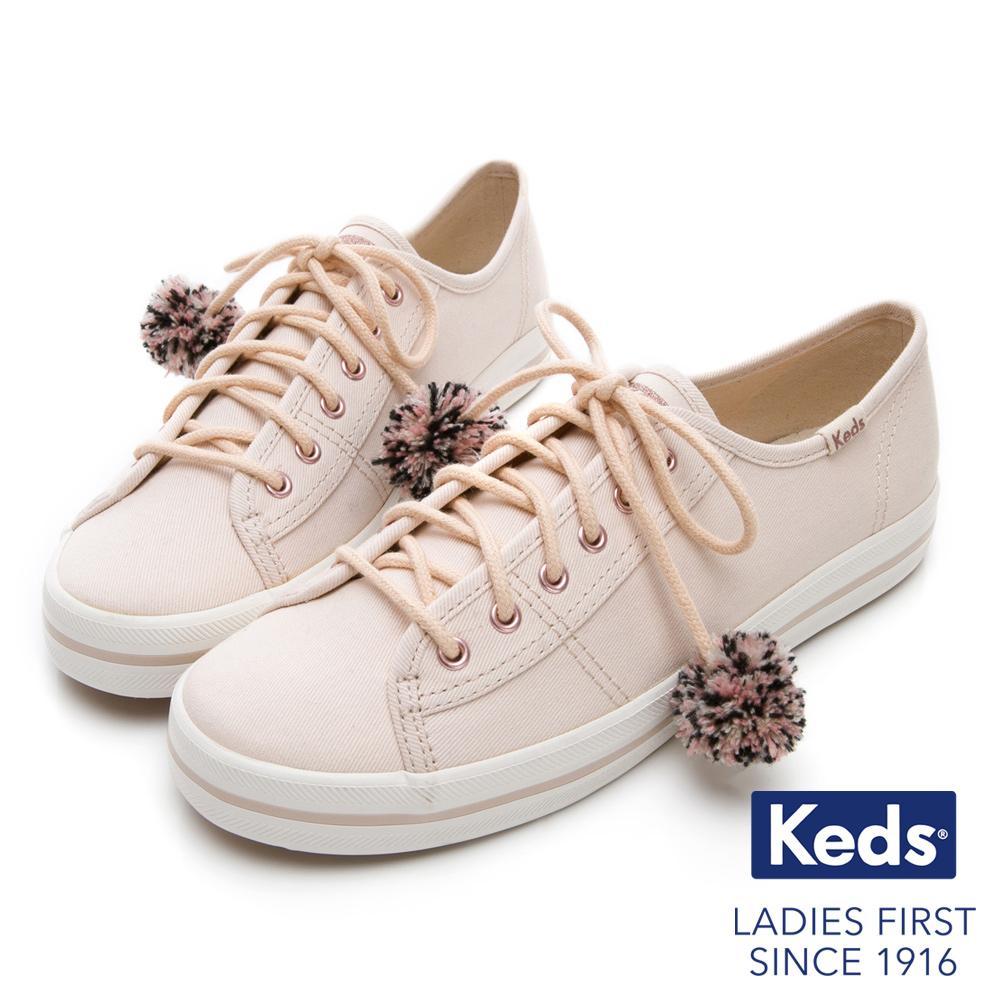 Keds KICKSTART 毛球裝飾綁帶休閒鞋-奶油白