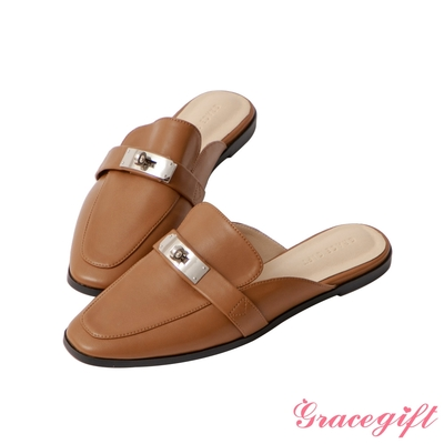 Grace gift-金屬飾釦平底穆勒鞋 棕