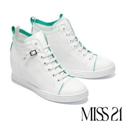 休閒鞋 MISS 21 自在彈性鞋帶全真皮內增高厚底休閒鞋-白