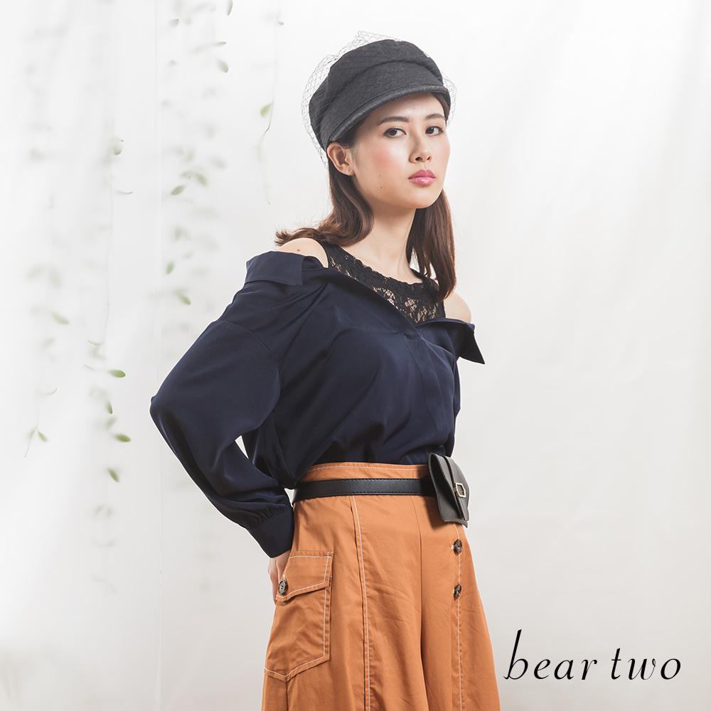 beartwo 微微春風蕾絲拼接造型襯衫上衣(藍色)