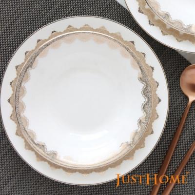 Just Home莉蒂雅浮雕蕾絲紋樣高級骨瓷湯盤/沙拉盤/點心盤2件組-6.5吋跟8吋(經典金色奢華餐桌美學)