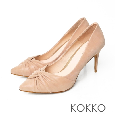 KOKKO極致迷人羊皮尖頭抓皺細高跟柔美粉
