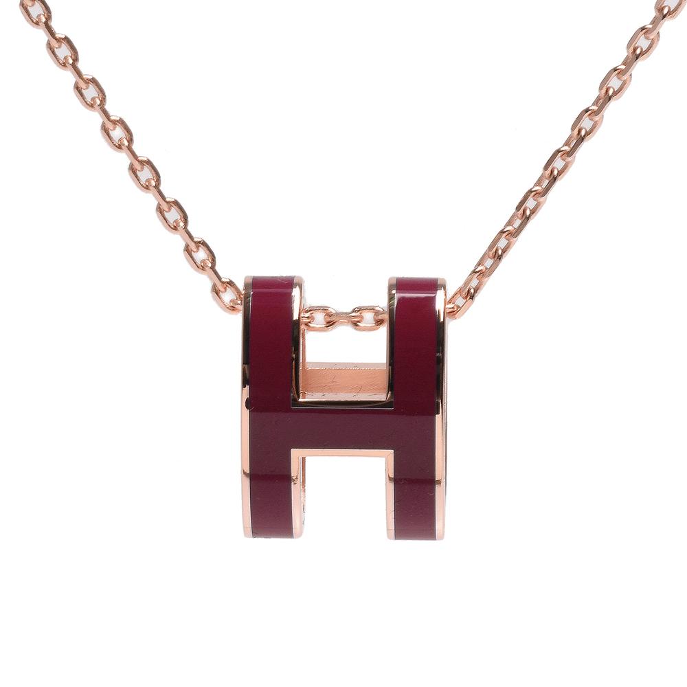 HERMES 經典Pop H立體簍空橢圓LOGO項鍊(磚紅色X玫瑰金)