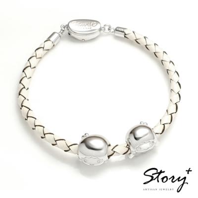 STORY故事銀飾-雙子星系列-KikiLala經典串珠手鍊(白皮繩款)