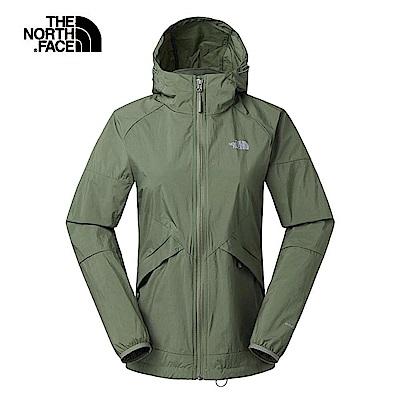 The North Face北面女款軍綠色可收納式風衣外套 3RL7ZCE