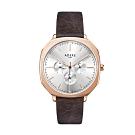 ADEXE 英國手錶 SQUARE三眼系列 棕色皮革錶帶玫瑰金方形錶框42mm