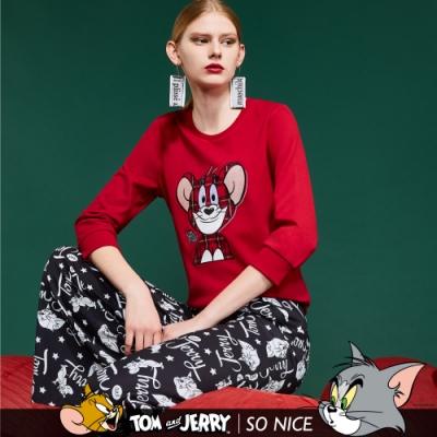 SO NICE│Tom&Jerry童趣格紋傑利鼠羅馬布上衣