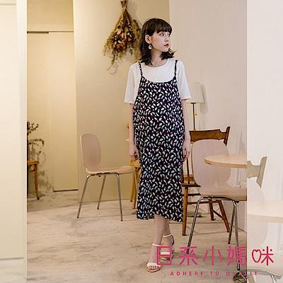 日系小媽咪孕婦裝-韓製哺乳衣~二件式繽紛羽毛圖案雪紡洋裝 (共二色)