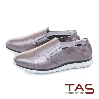 TAS幾何格紋真皮百搭休閒鞋-金屬灰