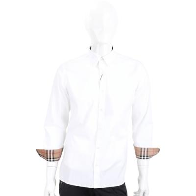 BURBERRY 格紋細節彈性棉長袖襯衫(白色/男款)