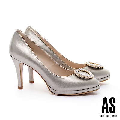 高跟鞋 AS 奢華珍珠白鑽圓釦羊皮美型高跟鞋-金