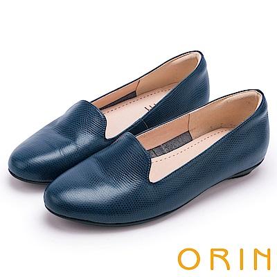 ORIN 率直簡約 牛皮壓紋素面百搭平底鞋-藍色