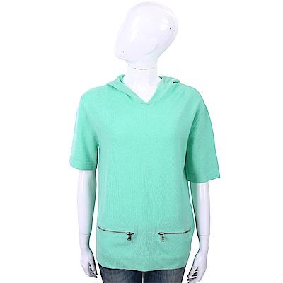 ALLUDE 喀什米爾綠色連帽羊毛針織衫