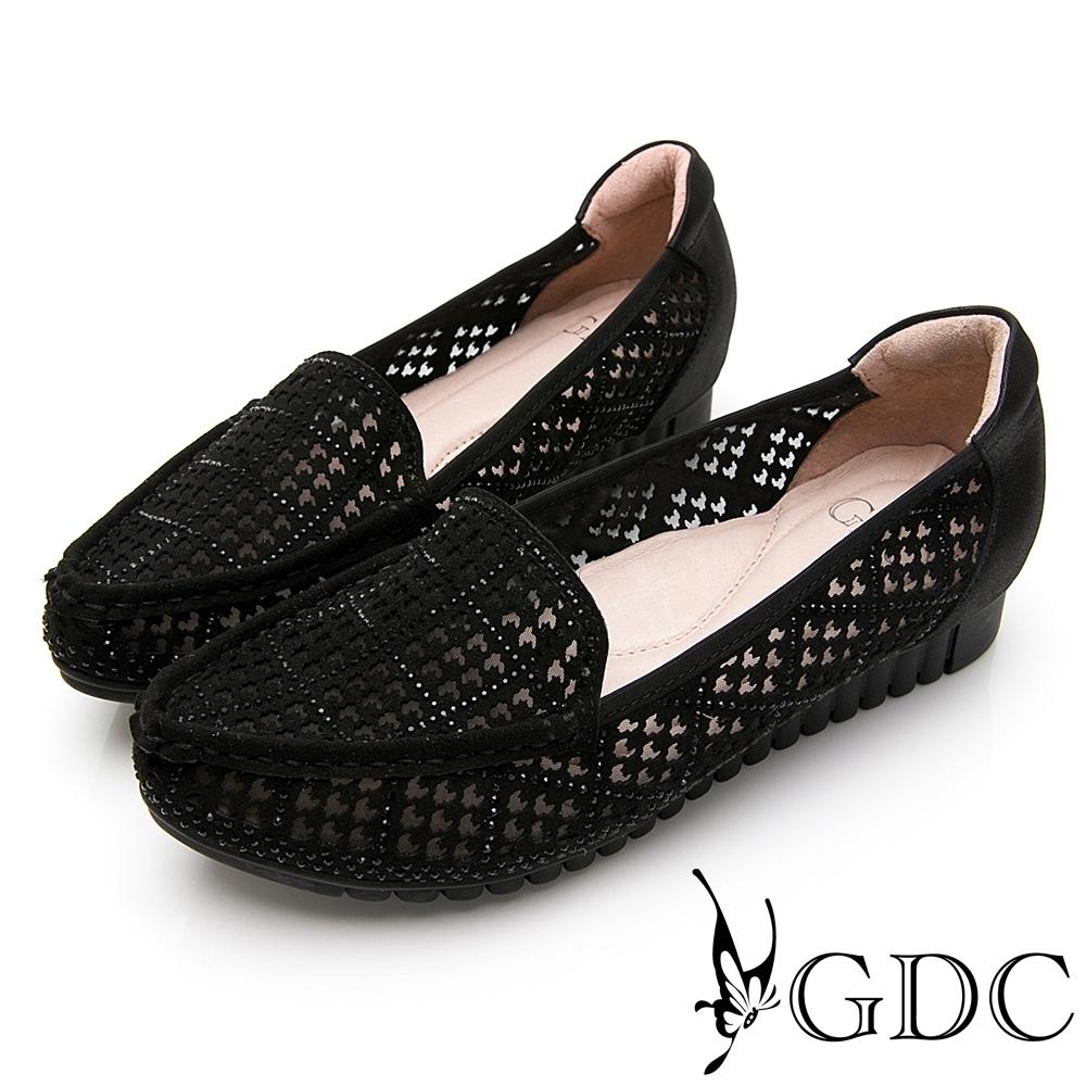 GDC-細緻優雅千鳥格紋羊皮尖頭柔軟休閒鞋-黑色