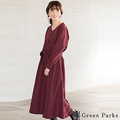 Green Parks 優雅鬆緊腰身綁帶連身洋裝