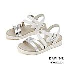 達芙妮DAPHNE 涼鞋-撞色鏤空條帶舒適休閒厚底涼鞋-銀色