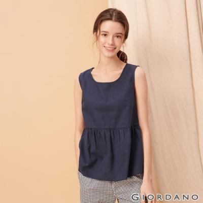GIORDANO 女裝自然棉麻系列傘狀無袖上衣-66 標誌海軍藍