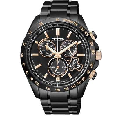 CITIZEN 五局電波計時腕錶(BY0135-57E)-黑x金/ 42mm