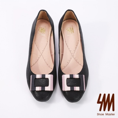 SM-方型扣飾炫彩奪目低跟鞋