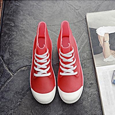 韓國KW美鞋館-街頭時尚防水輕量仿帆布長筒雨鞋 紅