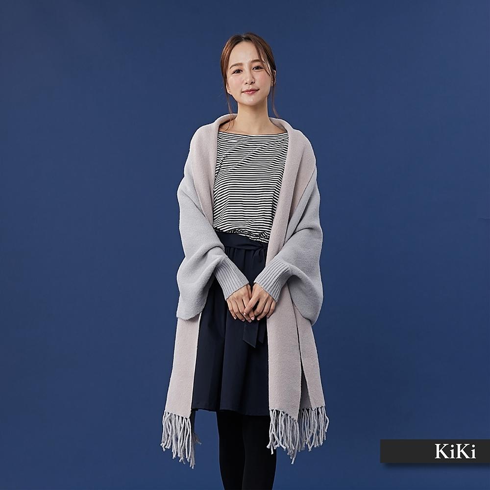 【KiKi】氣質圍巾披肩-針織外套(二色)