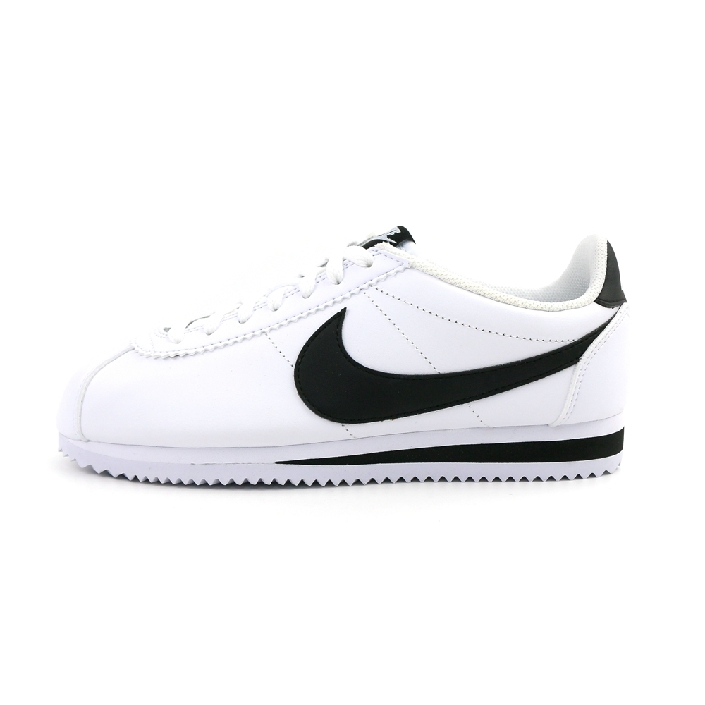 NIKE CLASSIC CORTEZ LEATHER 女休閒鞋 阿甘-白黑-807471101 product image 1