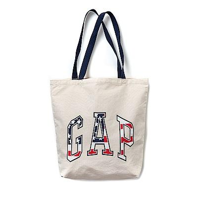 GAP 經典大Logo文字設計帆布環保袋-米色