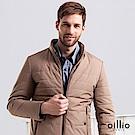 歐洲貴族 oillio 羽絨外套 熟男顯瘦款 素面夾克 卡其色
