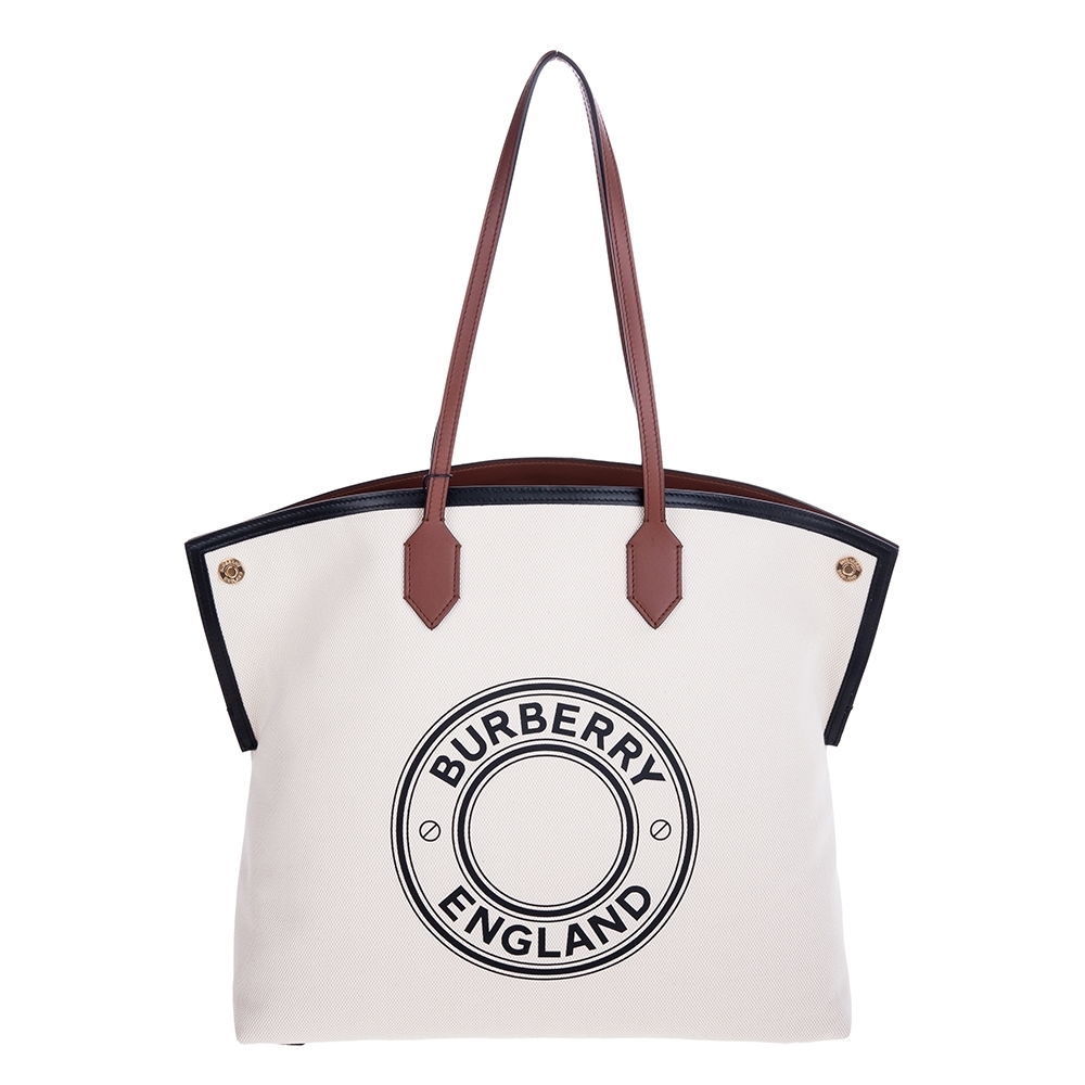BURBERRY 新款大型標誌圖案棉質帆布 Society 托特手提/肩背包 (麥芽棕色/黑色)