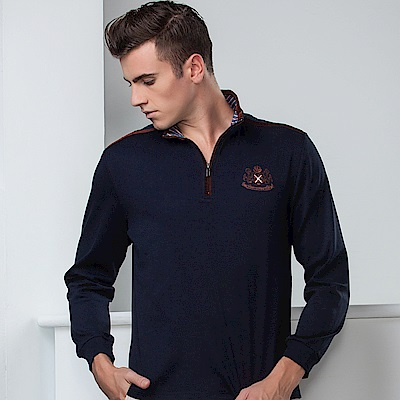 歐洲貴族oillio 長袖T恤 精緻電繡 特色肩線 深藍色