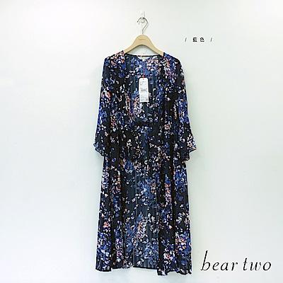 beartwo夏日夜櫻花雪紡長罩衫藍色