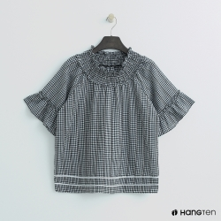 Hang Ten- 青少童裝-荷葉邊格紋襯衫-黑