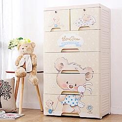【日居良品】60大面寬超萌卡拉小熊五層抽屜收納櫃-DIY附輪