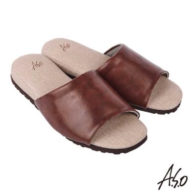 A.S.O 居家保健 抑菌減壓皮革健康舒適鞋-咖啡-3入組