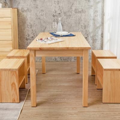 Boden-森林家具 4尺全實木餐桌椅組合(1桌4椅凳)-DIY-120x75x77cm