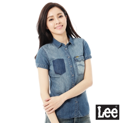Lee 牛仔101+短袖襯衫-女-藍