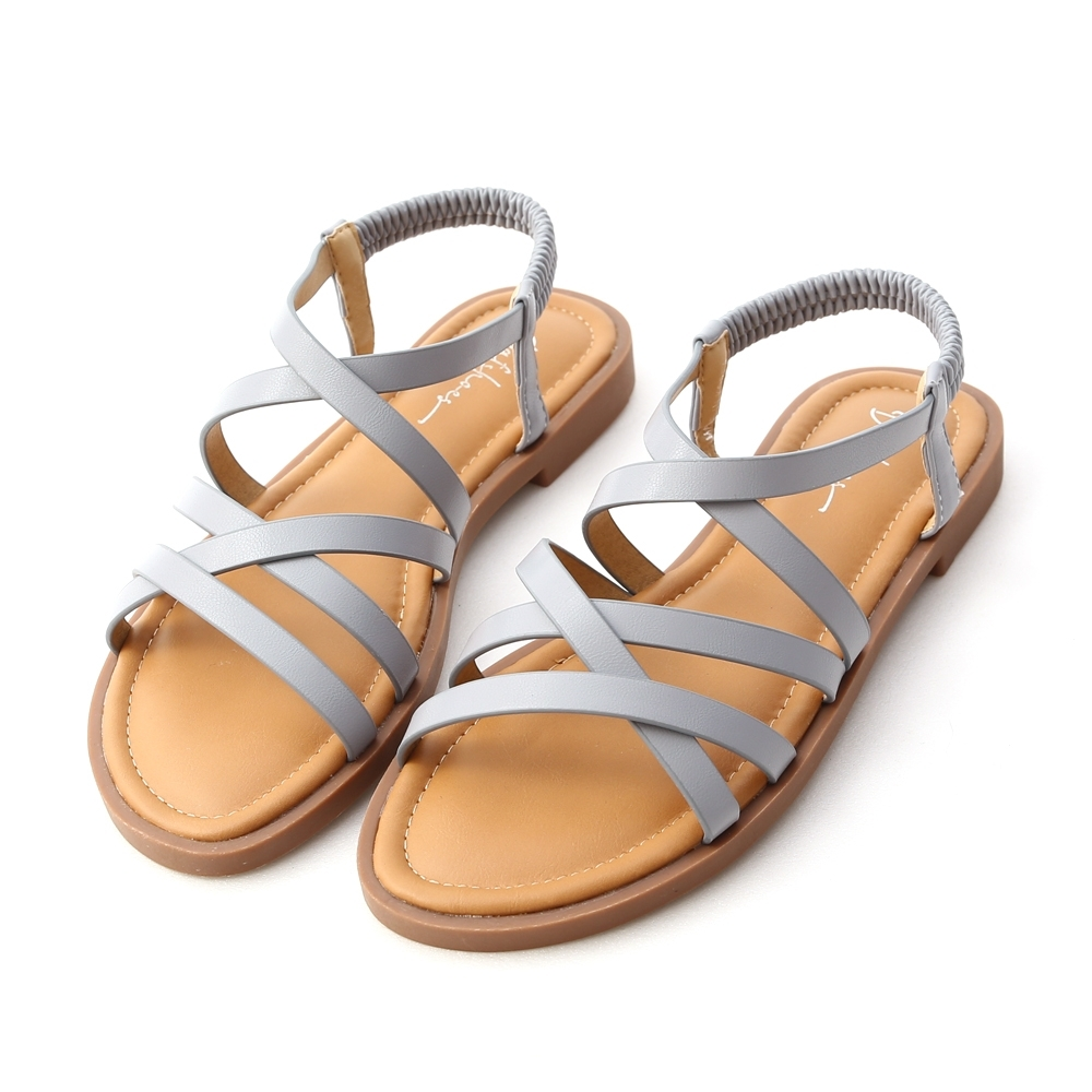 D+AF 繽紛新作.交叉線條軟Q底涼鞋*藍