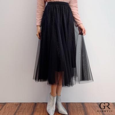 GLORY21 金蔥絨布蓬紗八片裙_黑