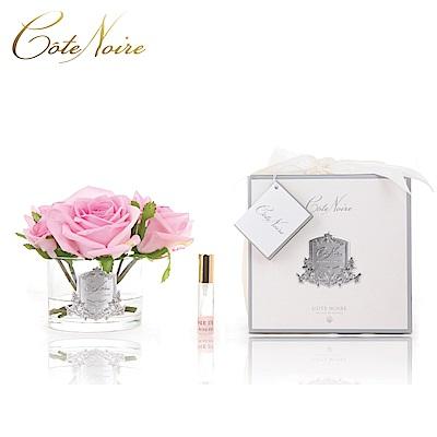 法國 CoteNoire 蔻特蘭 五朵粉紅玫瑰香氛花透明瓶