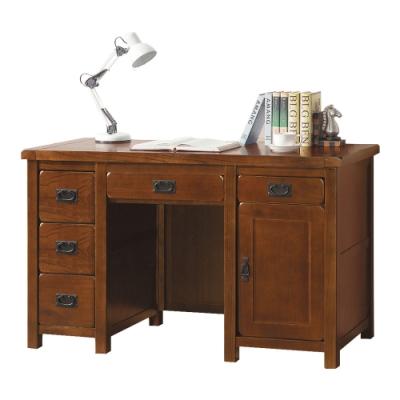 綠活居 貝雅典雅風4.4尺實木五抽單門書桌/電腦桌-133x60x81cm免組