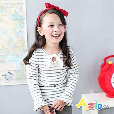 Azio Kids 上衣 蝴蝶結領口荷葉下擺袖口條紋長袖T恤(灰)