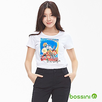 bossini女裝-印花短袖T恤03白