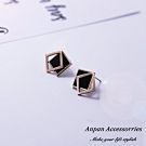 【ANPAN愛扮】韓東大門個性鈦鋼幾何方形耳釘式耳環