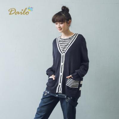 【Dailo】學院風大V領針織衫(二色)