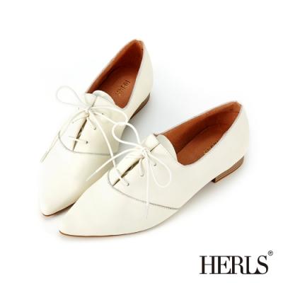 HERLS牛津鞋-全真皮皺摺綁帶尖頭牛津鞋-白色