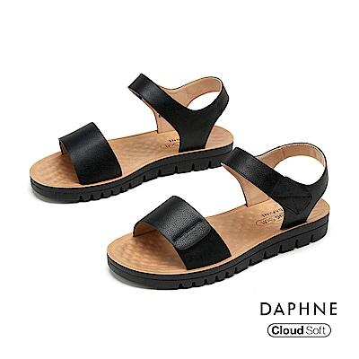 達芙妮DAPHNE 涼鞋-簡約原色一字帶舒軟休閒涼鞋-黑色