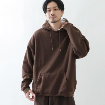 寬版頭套連帽TEE內刷毛長袖上衣素色(6色) -ZIP日本男裝