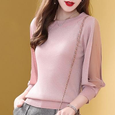 初色  透膚圓領針織衫-共2色-(F可選)